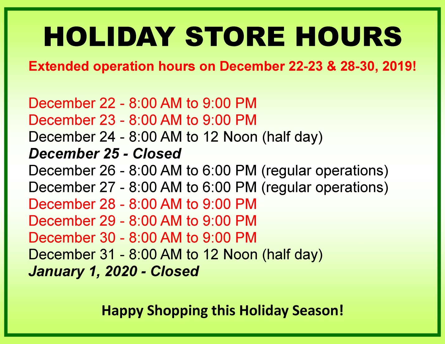 SHOPPING CENTER HOLIDAY STORE SCHEDULE