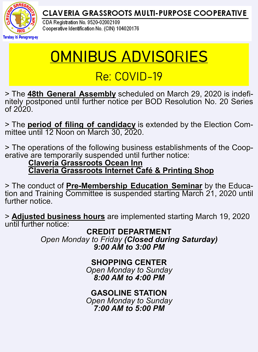 LIST OF ADVISORIES ON COVID-19 AS OF MARCH 18, 2020
